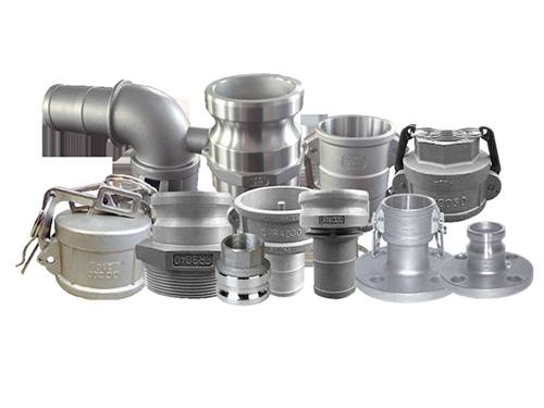 Several stainless steel camlock couplings of different shapes.